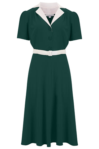 "The ""Lola"" Shirtwaister Dress in Solid Green with Ivory Contrast Collar, Perfect 1950s Style - RocknRomance True 1940s & 1950s Vintage Style"