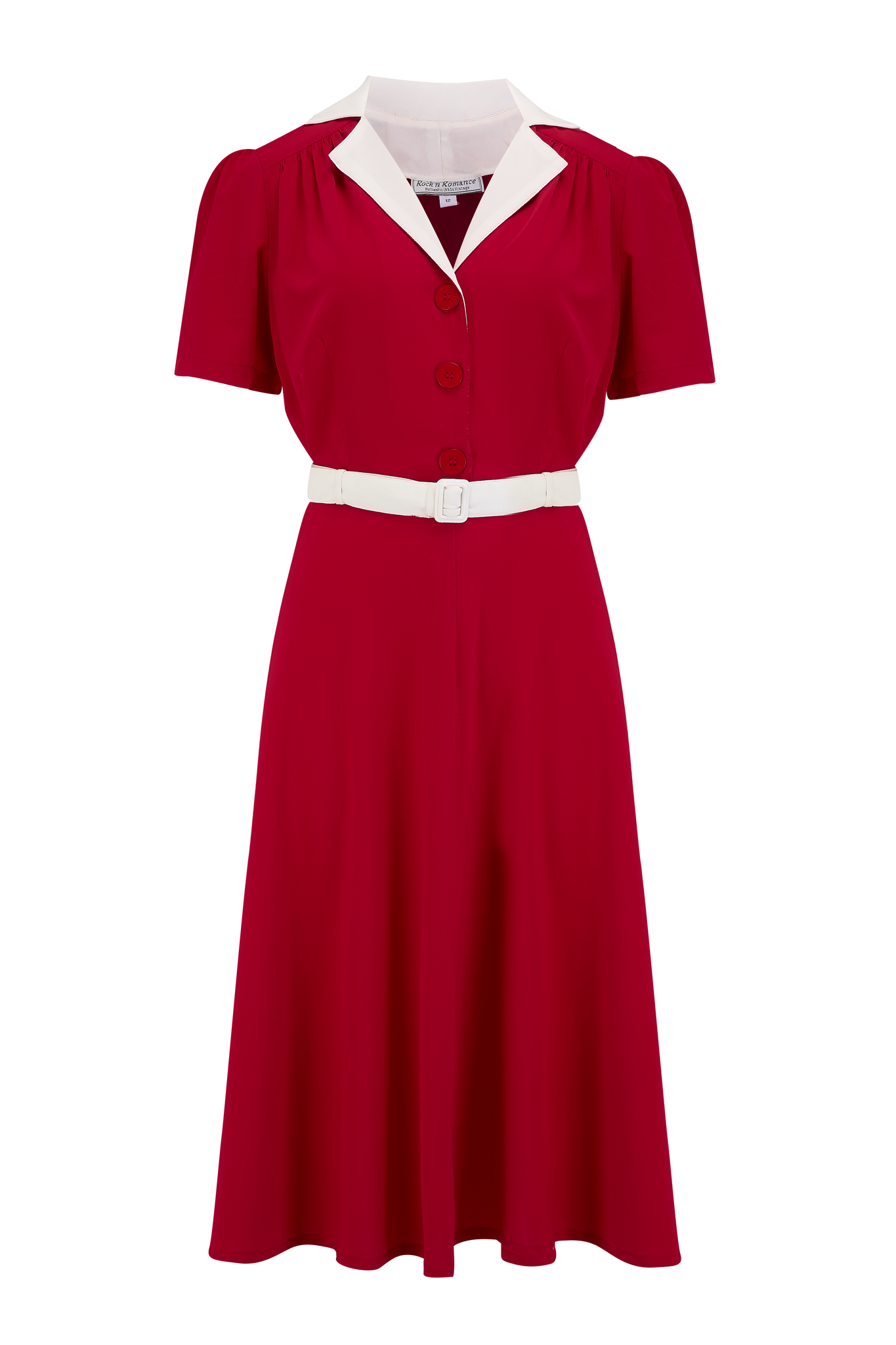 "Rock n Romance The ""Lola"" Shirtwaister Dress in Solid Red with Contrast Collar, Perfect 1950s Style - RocknRomance Clothing"