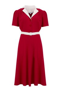 """Lola"" Shirtwaister Dress in Solid Red with Contrast Collar, Perfect 1950s Style.. AW19"