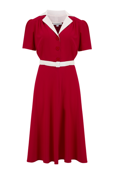 "The ""Lola"" Shirtwaister Dress in Solid Red with Contrast Collar, Perfect 1950s Style - RocknRomance True 1940s & 1950s Vintage Style"
