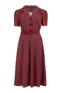 """Lola"" Shirtwaister Dress in Maroon Dotty Stripe, Perfect 1950s Authentic Vintage Style.. AW19"