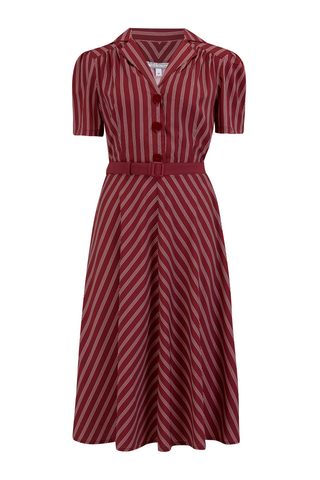 "Rock n Romance **Sample Sale** ""Lola"" Shirtwaister Dress in Maroon Dotty Stripe, Perfect 1950s Authentic Vintage Style.. AW19 - RocknRomance Clothing"