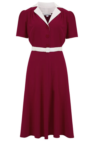 "The ""Lola"" Shirtwaister Dress in Solid Wine with Ivory Contrast Collar, Perfect 1950s Style - RocknRomance True 1940s & 1950s Vintage Style"