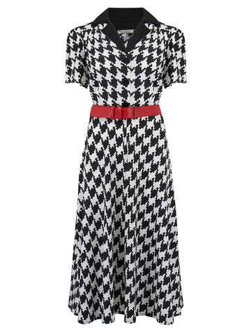 "Rock n Romance **Sample Sale** ""Lola"" Shirtwaister Dress in Large Black & White Houndstooth, Perfect 1950s Style - RocknRomance Clothing"