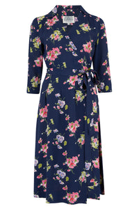 "The Seamstress Of Bloomsbury ""Loretta"" Wrap Tea Dress in Navy Mayflower Print, Classic 1940s True Vintage Style - RocknRomance Clothing"
