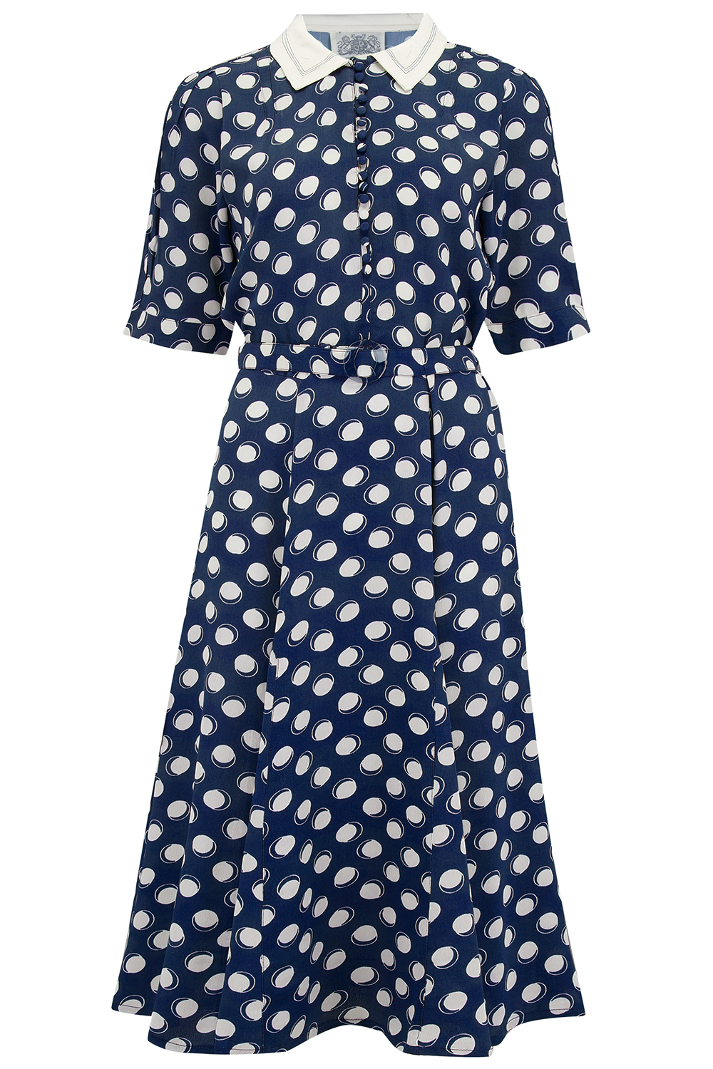 1940s Dress Styles Lucy Dress in Navy Moonshine Spot Authentic  Classic 1940s True Vintage Inspired Style £79.00 AT vintagedancer.com