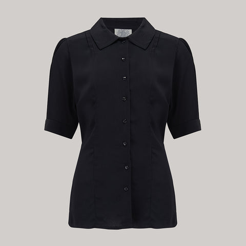 "The Seamstress Of Bloomsbury ""Lucy"" Blouse in Black , Classic & Authentic 1940s Vintage Inspired Style - RocknRomance Clothing"