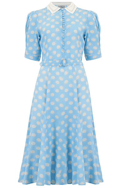 "Seamstress Of Bloomsbury ""Iris"" Tea Dress in Sky Blue Bow Print, Classic & Authentic 1940s Style at its Best"