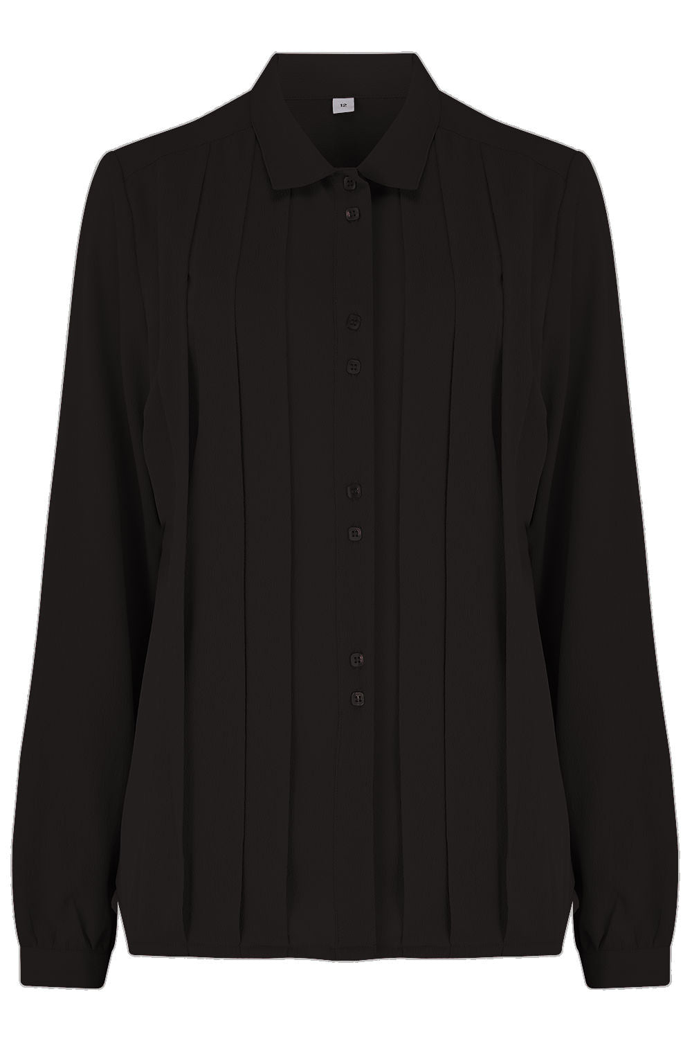 "The ""Lydia"" Long Sleeve, Pleated Front Blouse in Black, True Vintage Style - RocknRomance True 1940s & 1950s Vintage Style"