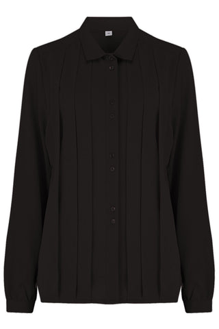 "Rock n Romance The ""Lydia"" Long Sleeve, Pleated Front Blouse in Black, True Vintage Style - RocknRomance Clothing"