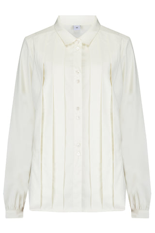 "Rock n Romance The ""Lydia"" Long Sleeve, Pleated Front Blouse in Antique White, True Vintage Style - RocknRomance Clothing"