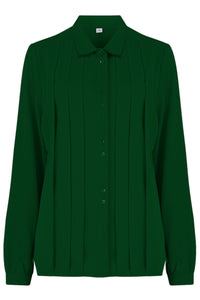 "Rock n Romance **Pre-Order** The ""Lydia"" Long Sleeve, Pleated Front Blouse in Green, True Vintage Style - RocknRomance Clothing"