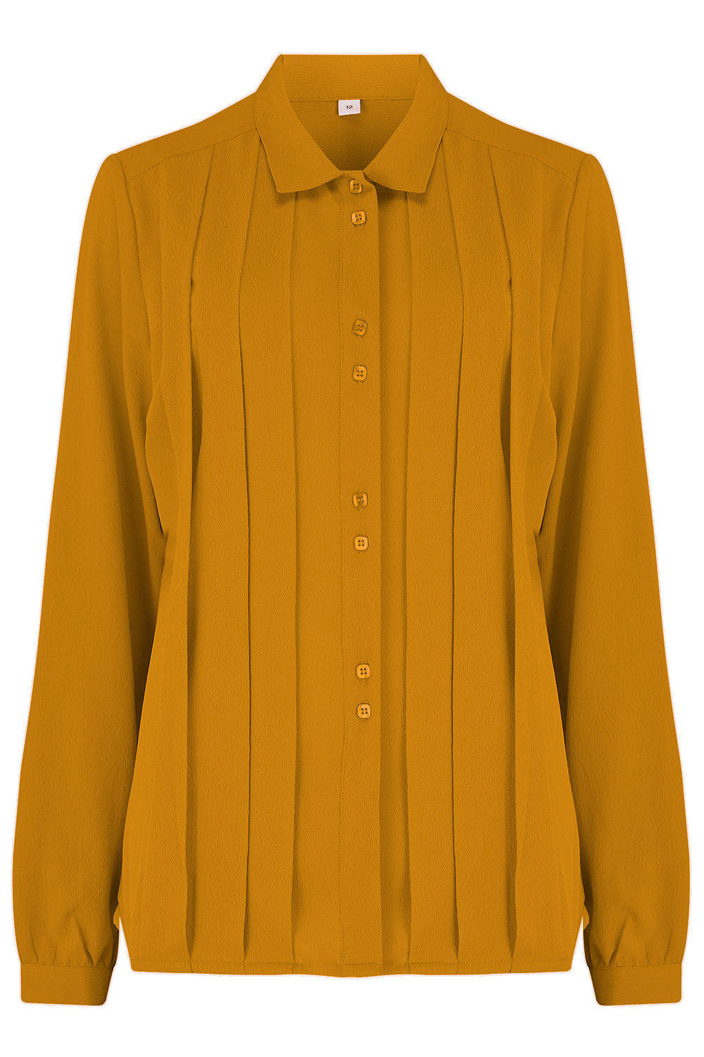 "Rock n Romance The ""Lydia"" Long Sleeve, Pleated Front Blouse in Mustard, True Vintage Style - RocknRomance Clothing"