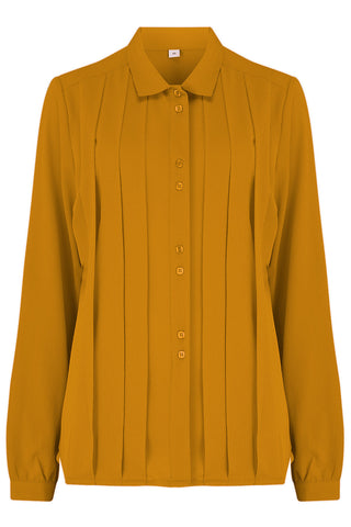"Rock n Romance **Pre-Order** The ""Lydia"" Long Sleeve, Pleated Front Blouse in Mustard, True Vintage Style - RocknRomance Clothing"