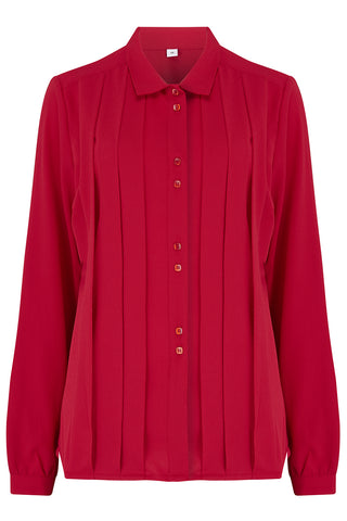 "Rock n Romance **Pre-Order** The ""Lydia"" Long Sleeve, Pleated Front Blouse in Red, True Vintage Style - RocknRomance Clothing"