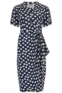 """Mabel"" Dress in Navy Moonshine Spot, A Classic 1940s Inspired Vintage Style"