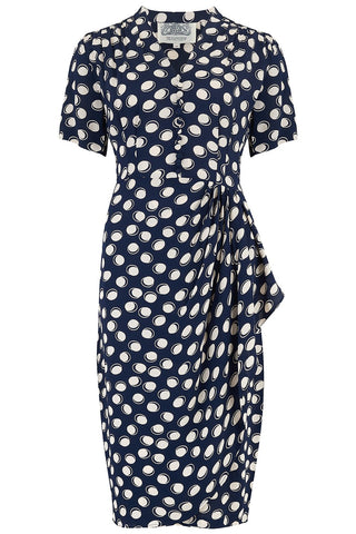 "The Seamstress of Bloomsbury ""Mabel"" Dress in Navy Moonshine Spot, A Classic 1940s Inspired Vintage Style - RocknRomance Clothing"