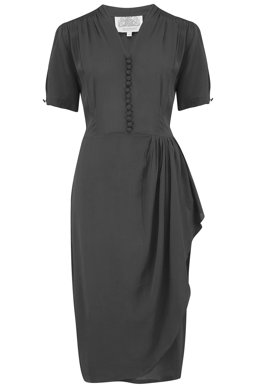 "The Seamstress of Bloomsbury ""Mabel"" Dress in Solid Black, A Classic 1940s Inspired Vintage Style - RocknRomance Clothing"