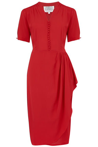 "Seamstress Of Bloomsbury ""Mabel"" Dress in Solid Red, A Classic 1940s Inspired Vintage Style"