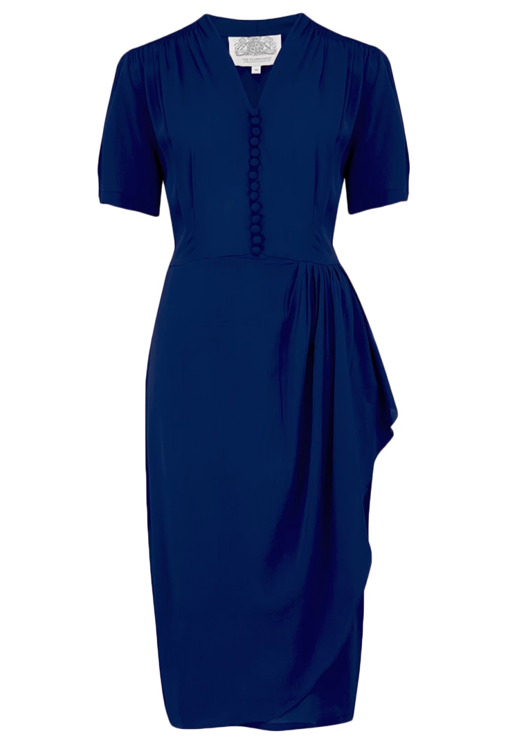 "The Seamstress of Bloomsbury ""Mabel"" Dress in Solid Navy, A Classic 1940s Inspired Vintage Style - RocknRomance Clothing"
