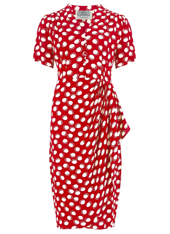 """Mabel"" Dress in Red Moonshine Spot, A Classic 1940s Inspired Vintage Style"