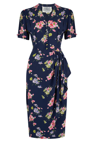 "The Seamstress of Bloomsbury ""Mabel"" Dress in Navy Mayflower Print, A Classic 1940s True Vintage Inspired Style - RocknRomance Clothing"