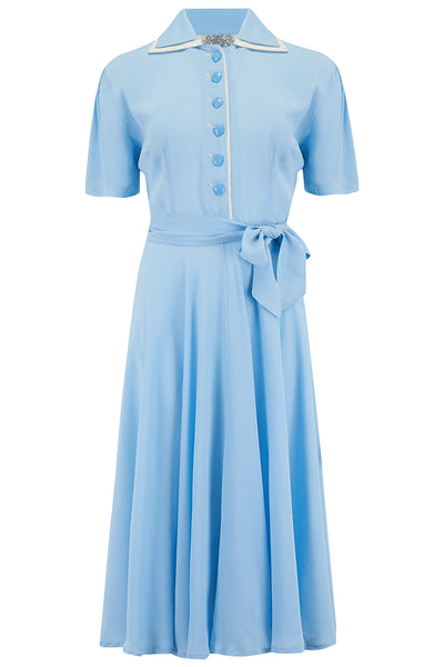 """Mae"" Tea Dress in Powder Blue With Cream Contrasts by The Seamstress of Bloomsbury, Classic 1940s Vintage Style Inspired"