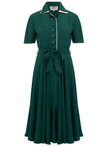 """Mae"" Tea Dress in Green with Cream Contrasts, Seamstress Of Bloomsbury  Classic 1940s Inspired Vintage Style"