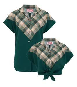 "The ""Maisy"" Tuck in or Tie Up Blouse in Green & Check, Classic Vintage Western Style - RocknRomance True 1940s & 1950s Vintage Style"