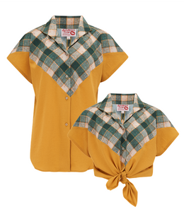 "The ""Maisy"" Tuck in or Tie Up Blouse in Mustard & Check, Classic Vintage Western Style - RocknRomance True 1940s & 1950s Vintage Style"