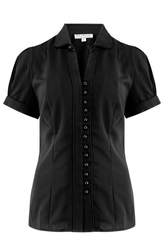 "Rock n Romance The ""Margot"" Blouse in Solid Black, True & Classic Easy To Wear Vintage Style - RocknRomance Clothing"