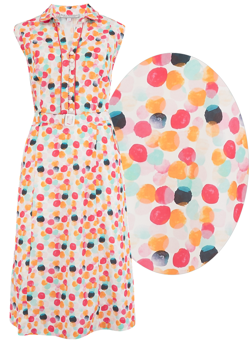 "**Sample Sale** ""Margot"" Dress in Bubblegum Print, Perfect 1950s Style - RocknRomance True 1940s & 1950s Vintage Style"