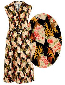 "Rock n Romance The ""Margot"" Dress in Oriental Fan Print, True & Classic Easy To Wear Vintage Style - RocknRomance Clothing"