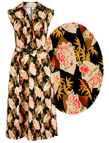 "Rock n Romance ""Margot"" Dress in Japanese Fan Print, Perfect 1950s Style - RocknRomance Clothing"