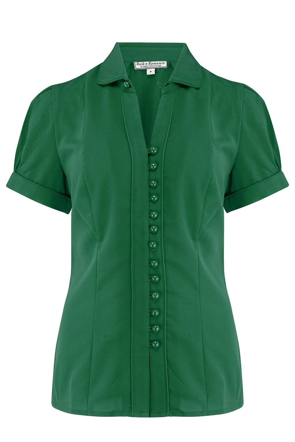 1940s Blouses, Tops, Shirts, Knitwear The Margot Blouse in Solid Green True  Classic 1950s Vintage Style £29.00 AT vintagedancer.com
