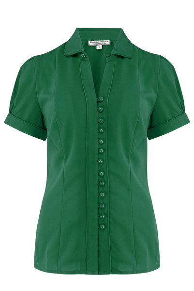"Rock n Romance **Pre-Order** The ""Margot"" Blouse in Solid Green, True & Classic 1950s Vintage Style - RocknRomance Clothing"