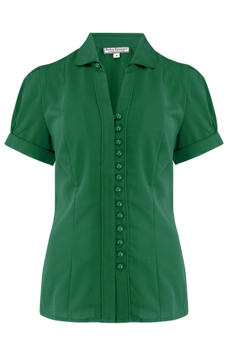 "Rock n Romance ""Margot"" Blouse in Solid Green, Perfect 1950s Style - RocknRomance Clothing"