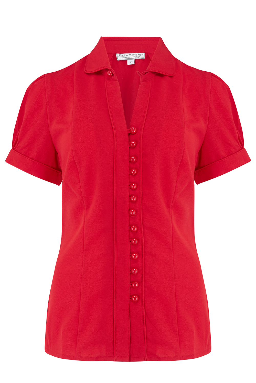 "Rock n Romance **Pre-Order** The ""Margot"" Blouse in Solid Red, True & Classic Easy To Wear Vintage Style - RocknRomance Clothing"