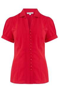 "Rock n Romance ""Margot"" Blouse in Solid Red, Perfect 1950s Style - RocknRomance Clothing"