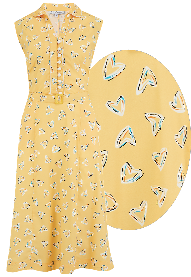 "**Sample Sale** The ""Margot"" Dress in Yellow Abstract Heart Print, True & Classic Easy To Wear Vintage Style - RocknRomance True 1940s & 1950s Vintage Style"