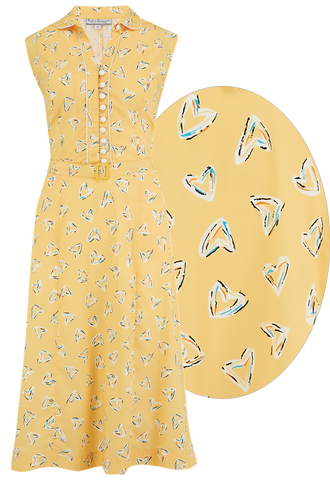"Rock n Romance The ""Margot"" Dress in Yellow Abstract Heart Print, True & Classic Easy To Wear Vintage Style - RocknRomance Clothing"