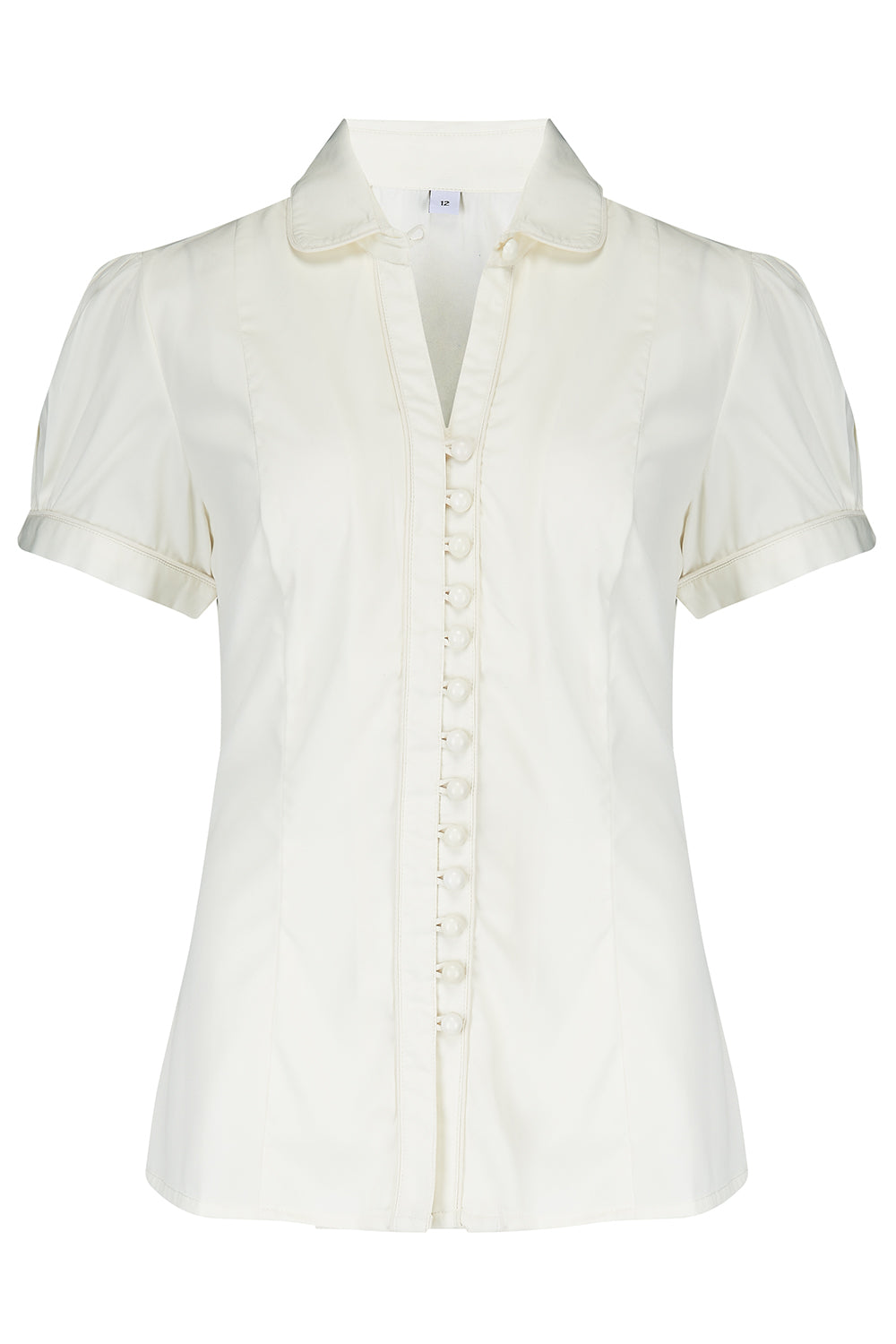 1940s Dresses and Clothing UK | 40s Shoes UK Pre-Order The Margot Blouse in Antique White True  Classic Easy To Wear Vintage Style £29.00 AT vintagedancer.com