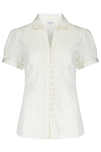 "Rock n Romance The ""Margot"" Blouse in Antique White, True & Classic Easy To Wear Vintage Style - RocknRomance Clothing"