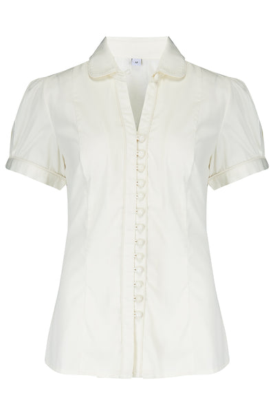 "The ""Margot"" Blouse in Antique White, True & Classic Easy To Wear Vintage Style - RocknRomance True 1940s & 1950s Vintage Style"