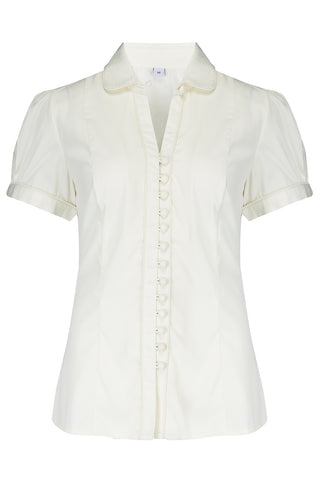 "Rock n Romance **Pre-Order* The ""Margot"" Blouse in Antique White, True & Classic Easy To Wear Vintage Style - RocknRomance Clothing"