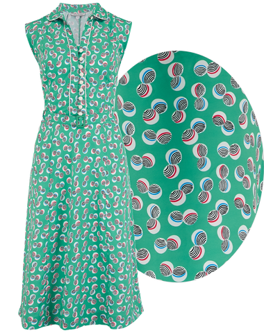"Rock n Romance The ""Margot"" Dress in Green Abstract Polka Print, True & Classic Easy To Wear Vintage Style - RocknRomance Clothing"