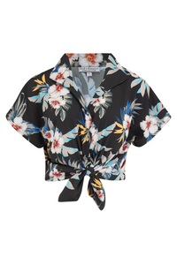 "Tuck in or Tie Up ""Maria"" Blouse in Black Hawaiian Print, Authentic 1950s Tiki Style.. New for AW19"