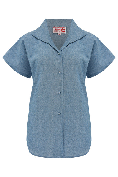 "Tuck in or Tie Up ""Maria"" Blouse in Lightweight Blue Denim, Cotton Chambray, Authentic 1950s - RocknRomance True 1940s & 1950s Vintage Style"