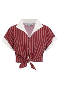 "Rock n Romance **Sample Sale** Tuck in or Tie Up ""Maria"" Blouse in Maroon Dotty Stripe, Authentic 1950s Tiki Style - RocknRomance Clothing"