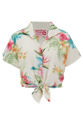 "Tuck in or Tie Up ""Maria"" Blouse in Natural Honolulu Print, Authentic 1950s - RocknRomance True 1940s & 1950s Vintage Style"